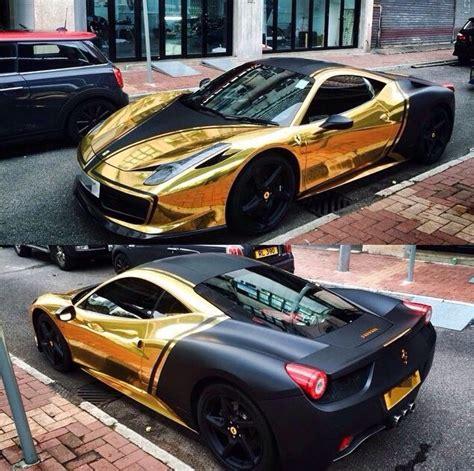 ferrari custom paint ferrari 458 gold chrome black custom 2016 car wraps