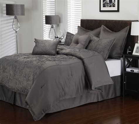 charcoal comforter 8 piece cal king roselle charcoal comforter set ebay