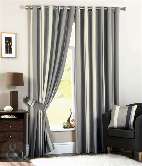 luxury striped faux silk curtains ready made eyelet ring top fully lined curtain ebay