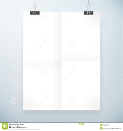 blank templates for posters folded blank paper poster template stock vector image