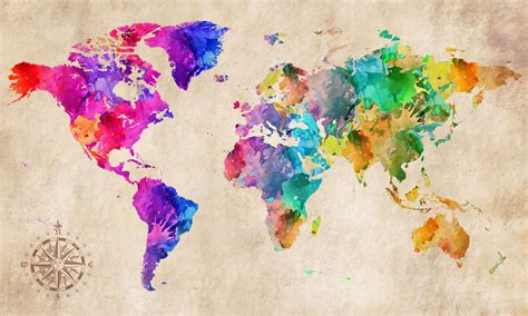 Artsy Home Decor by World Map Modern Abstract Art Watercolour Grunge Canvas