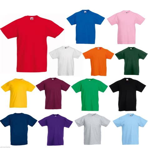 Tshirt Kaos Ages fruit of the loom t shirt 12 colours all ages ebay