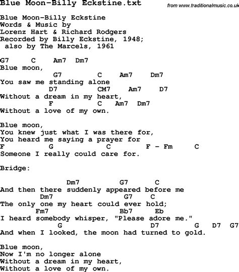 testo blue moon jazz song blue moon billy eckstine with chords tabs and