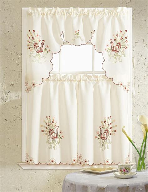 red swag kitchen curtains peacock embroidered ruffle kitchen curtain set swag