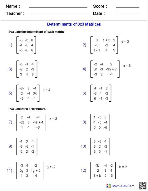 Math Aid Worksheets by Matrices Worksheets Algebra 2 Worksheets Math Aids