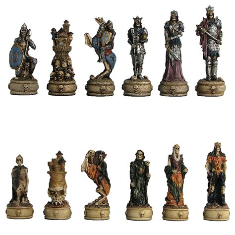 Chess Set Designs by Polyresin Skeleton Warrior Chess Pieces