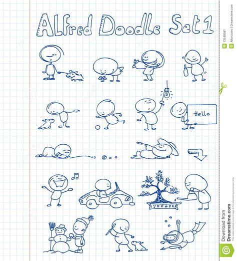 alfred doodle vector free alfred doodle set 6 vector cartoondealer