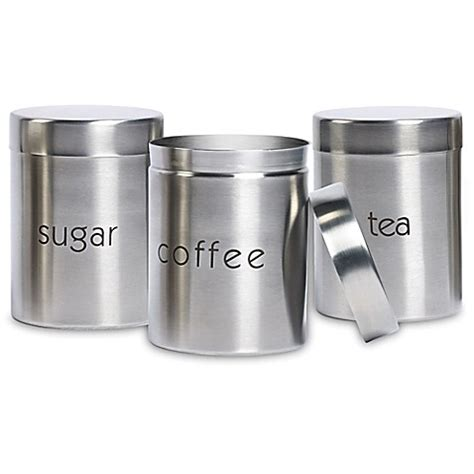 bed bath and beyond canister sets basic essentials 3 piece stainless steel canister set