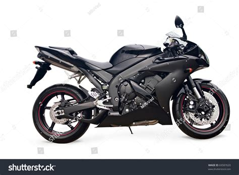 black motorbike black sport bike on white background stock photo 69587620