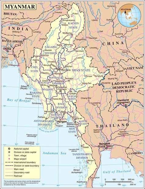 political map of myanmar detailed administrative and political map of burma burma