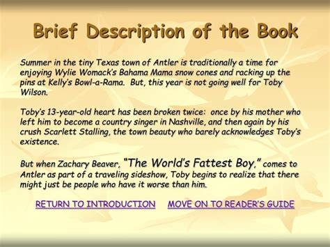 brief description ppt a reader s guide when zachary beaver came to town by willis holt powerpoint