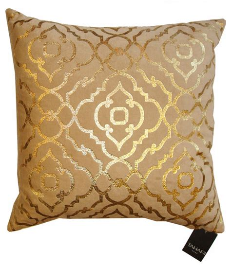Tahari Home Pillows by Tahari Pillow Mod Gold Print On Velvet