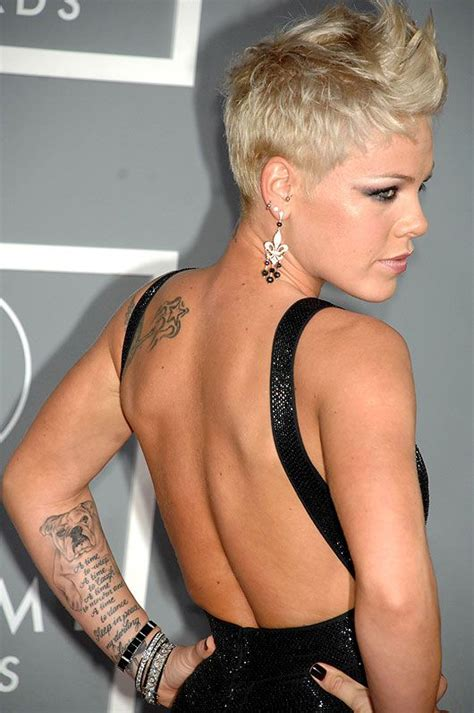tattoo on pinks arm pink the renowned soul and pop singer has been known for
