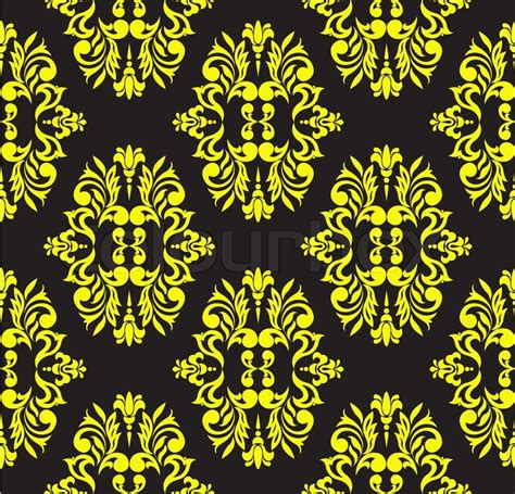 pattern yellow black seamless floral pattern of yellow on a black background