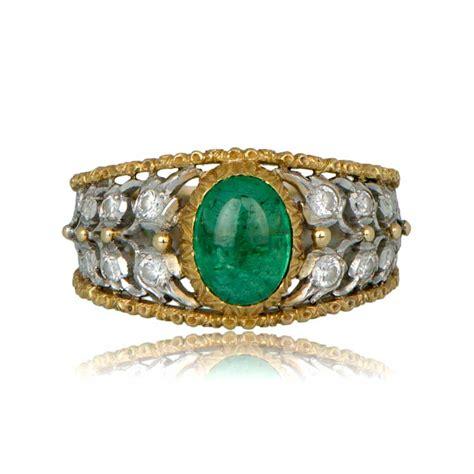 vintage buccellati emerald ring