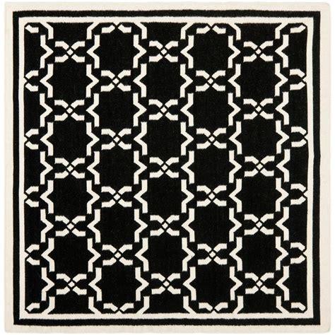 black square rug safavieh dhurries black ivory 8 ft x 8 ft square area rug dhu545l 8sq the home depot