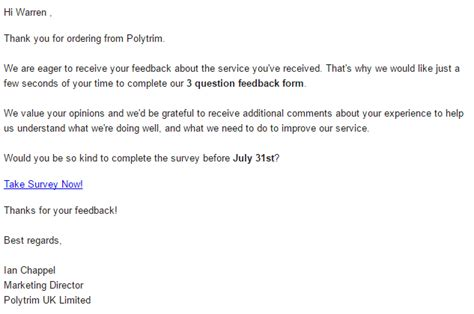 customer survey email template test driving voice of the customer surveys in microsoft