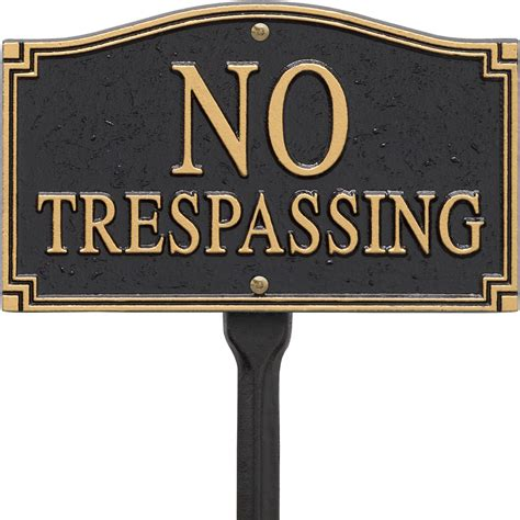 no trespassing yard sign in specialty plaques