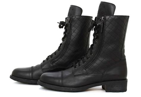 chanel black leather combat boots w stitched cc and