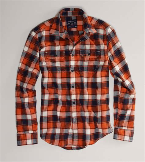 Topping Flanel Orange plaid flannel shirts sweater jacket