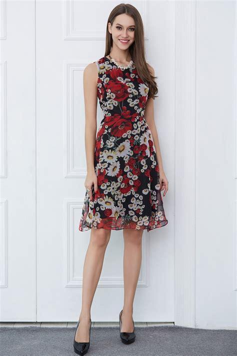 summer floral print chiffon knee length wedding guest