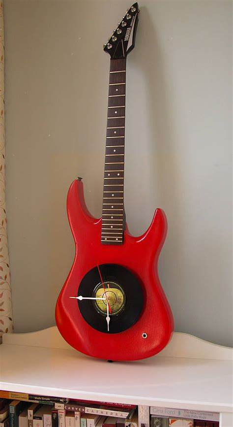 upcycled guitar upcycled electric guitar clock by vyconic