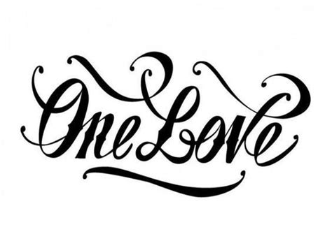 one love tattoos one lettering design