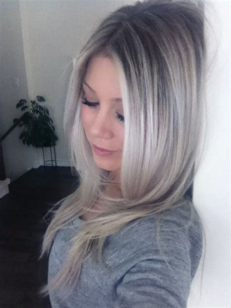 pretty highlights for gray rooted hair ombre ash blonde baby blonde my style pinterest