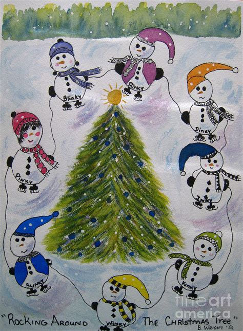 rocking around the christmas tree mixed media by bonnie wright