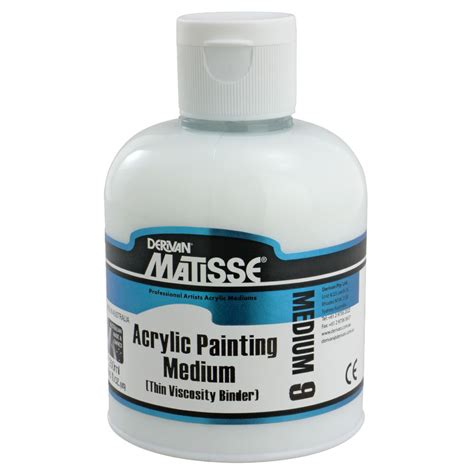 acrylic paint binder derivan matisse acrylic painting medium 250ml officeworks