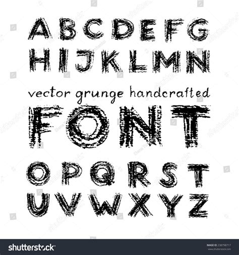 Handcrafted Font - vector grunge handcrafted font charcoal stock vector