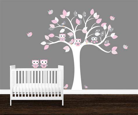 Girls Owl Wall Decal Kids Nursery Decal Owl Tree Wall Art Owl Nursery Wall Decals