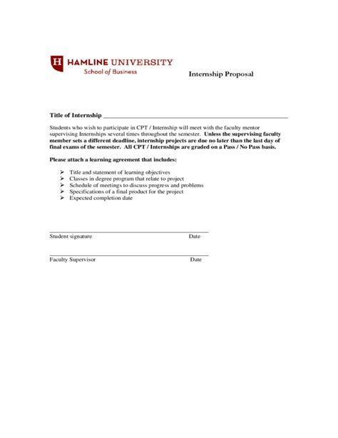 Hamline Mba Deadlines by Cpt Internship Course And Registration Form