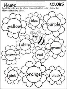 color words worksheet flower colors words and flower on