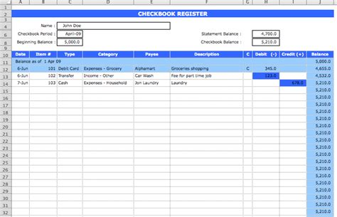 excel bank account template checkbook register format microsoft excel templates
