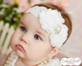 white headband white baby headband shabby chic headband by thinkpinkbows on etsy