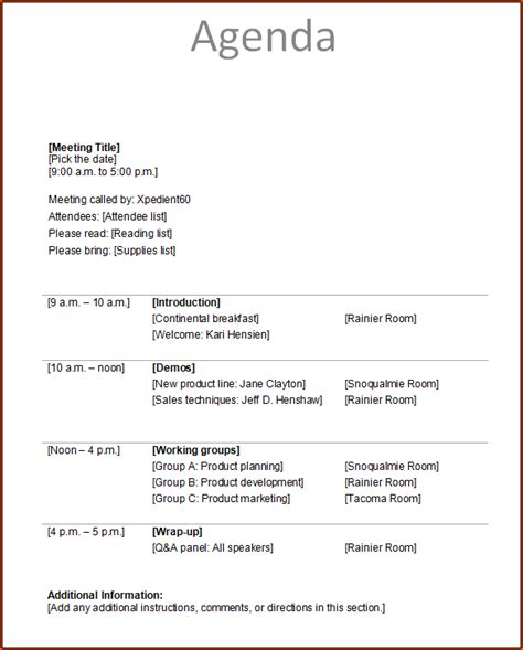 meeting itinerary template 4 meeting itinerary template bookletemplate org