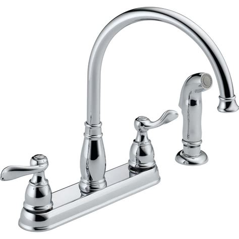 kitchen faucet handles delta windemere 2 handle standard kitchen faucet with side sprayer in chrome 21996lf the home