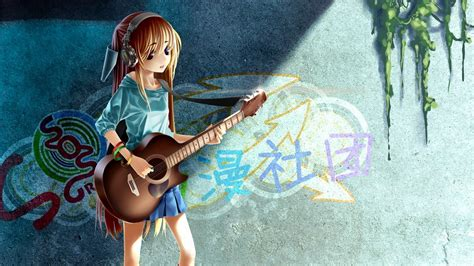 anime girl playing guitar wallpaper heterochromia guitars anime anime girls original