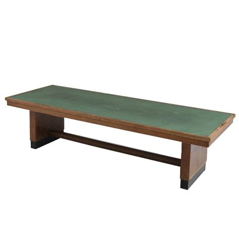 large dining table in oak with green top for sale at 1stdibs