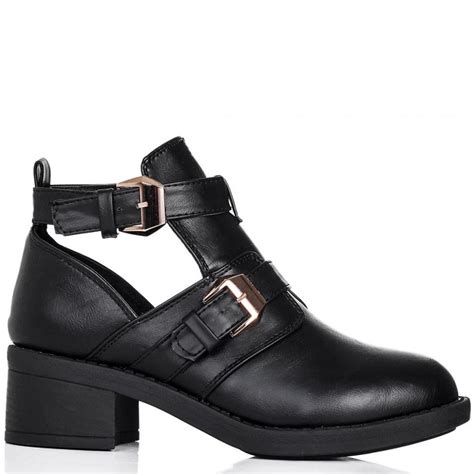 buy dramatic block heel buckle cut out ankle boots black