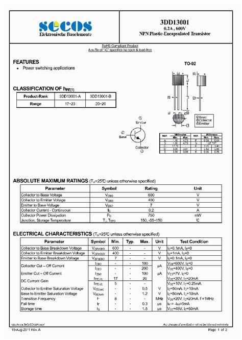 npn transistor in pdf 3dd13001 4435273 pdf datasheet ic on line