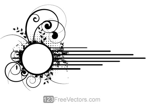 vector grunge floral circle frame design 123freevectors