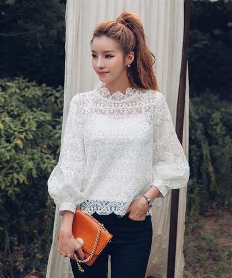 1596 Tank Top Korean Blouse korean style lace puff sleeve blouse with tank tops cmk102857wi