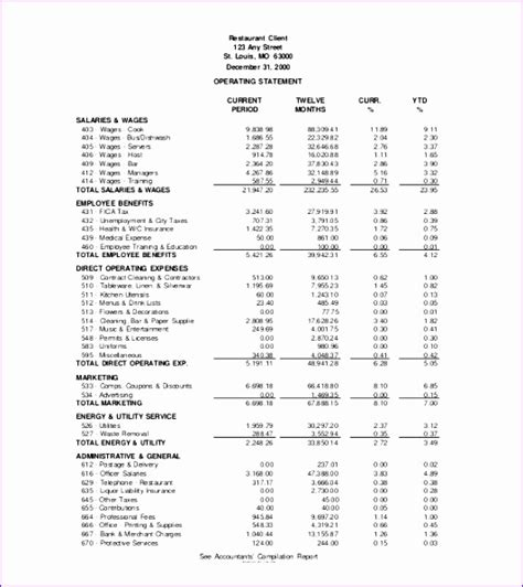 profit and loss template company profit and loss statement