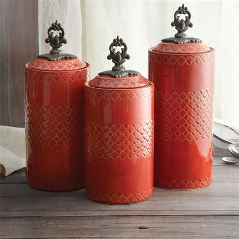 american atelier quatra red canister set rustic kitchen canisters and jars new york by