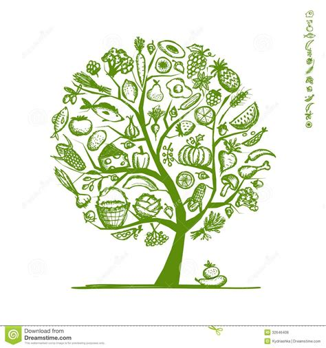 eps format slike healthy food tree sketch for your design stock vector
