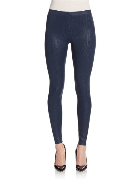 patterned tights blue david lerner coated python patterned leggings in blue lyst