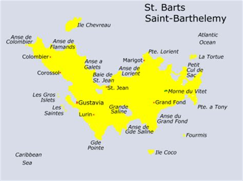 st barts map new caribbean world