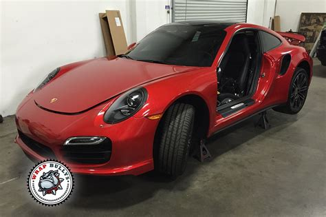 porsche wrapped porsche 911 turbo wrapped in 3m gloss dragon red car wrap